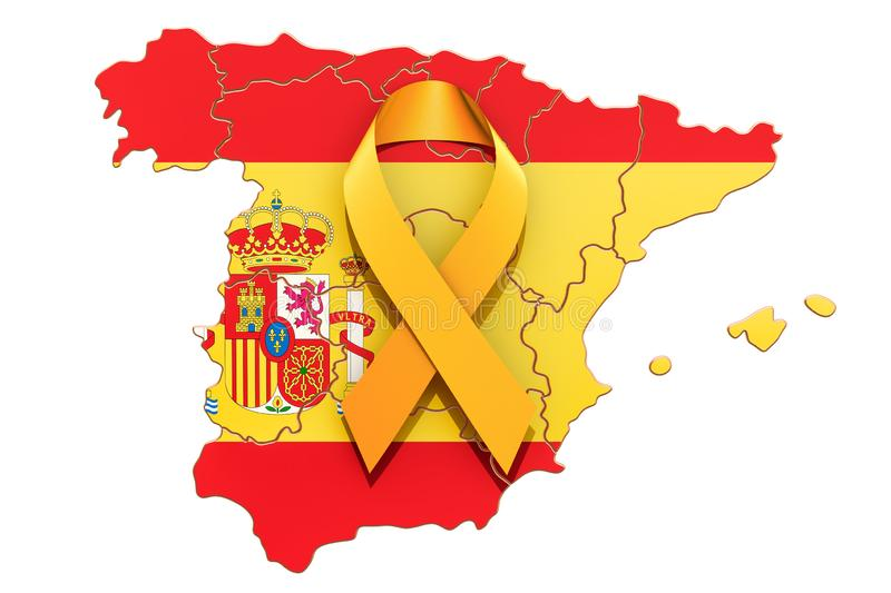 Yellow ribbon on the Spanish map. Catalonia independence concept royalty free illustration