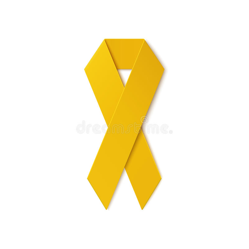Yellow ribbon on white background. Troop support, suicide prevention, bone cancer, adoptive parents symbol. Vector illustration royalty free illustration