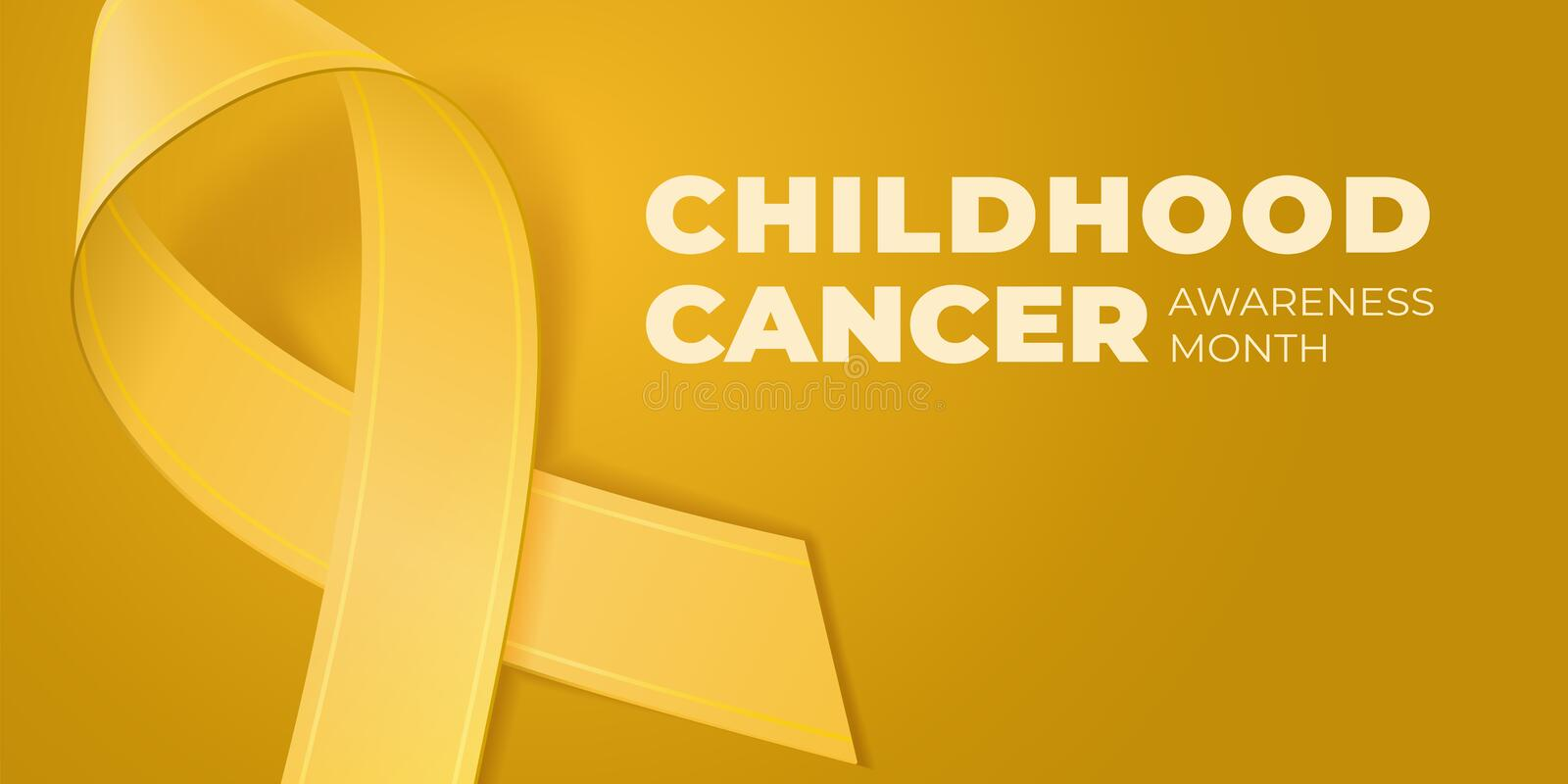 Yellow ribbon on Yellow background with copy space for your text. Childhood Cancer Awareness Month typography. Medical. Symbol in September. Vector illustration royalty free illustration