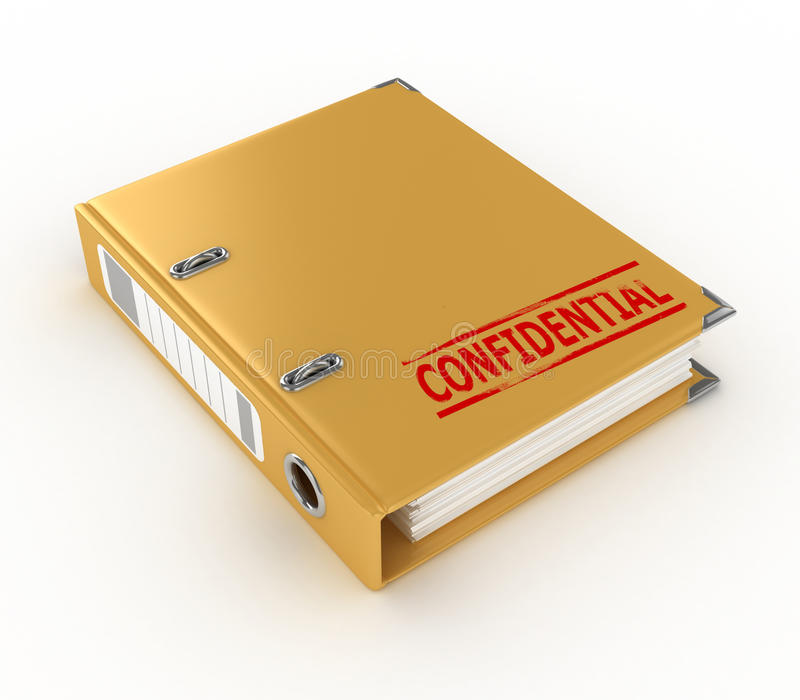 Yellow ring binder with confidential stamp. Isolated on the white background vector illustration
