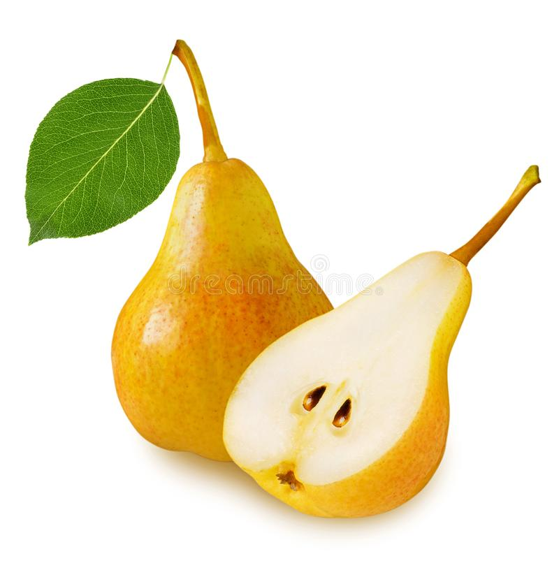 Yellow ripe juicy whole pear fruit with green leaf and sliced pear half isolated on white background royalty free stock photography