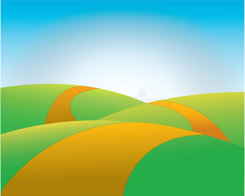 Yellow road over green hills. Illustration of yellow road receding over green hills with blue sky and light in background vector illustration