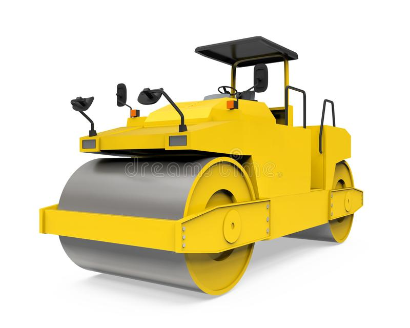 Yellow Road Roller Isolated royalty free illustration