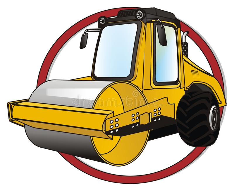 Road roller on red sign. Yellow road roller peek up from red sign royalty free illustration