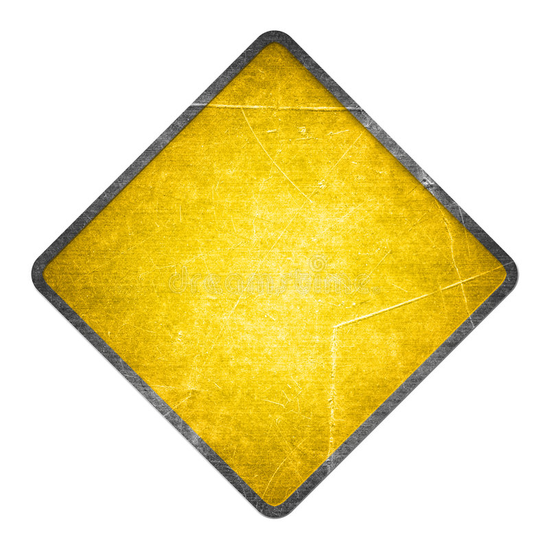 Yellow road sign. Yellow scratched road sign isolated on white vector illustration
