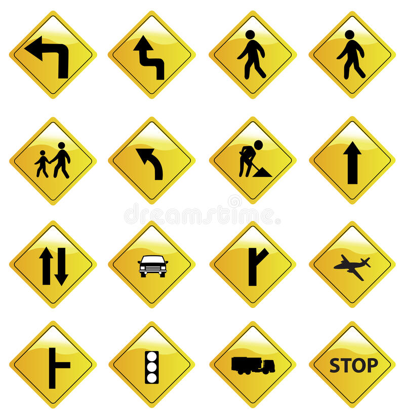 Yellow Road Sign Icons Set royalty free illustration