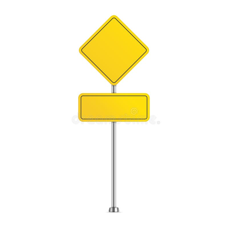 Yellow road sign. Blank warning street sign isolated on white background. Vector illustration in realistic style. EPS 10 vector illustration