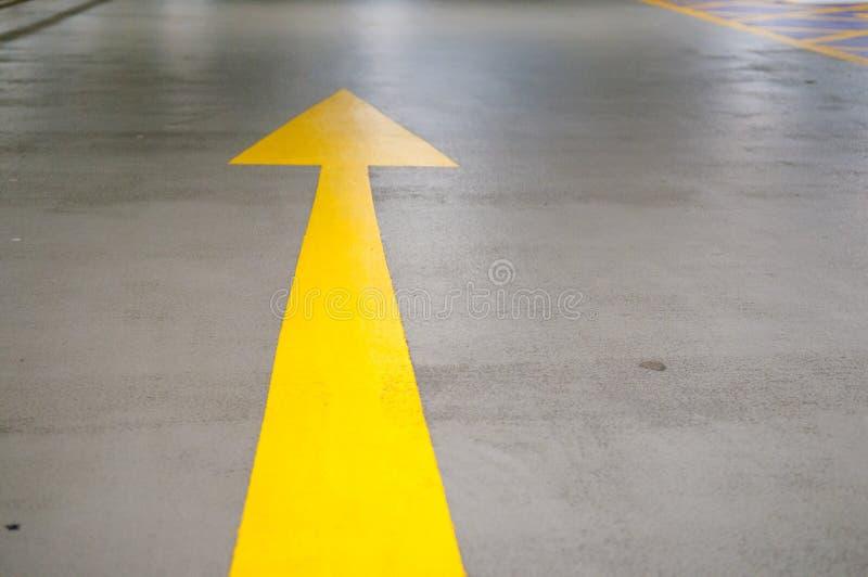 Yellow road traffic marking on the street stock photo