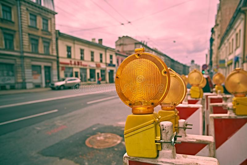 Yellow road work flashers close up. Yellow road work flashers close-up royalty free stock photo