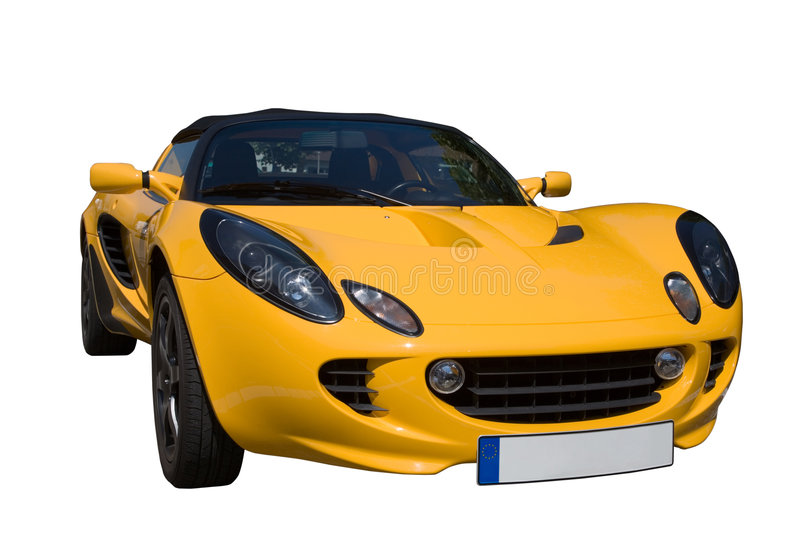 Yellow roadster. Yellow roadster on white with clipping path stock photos