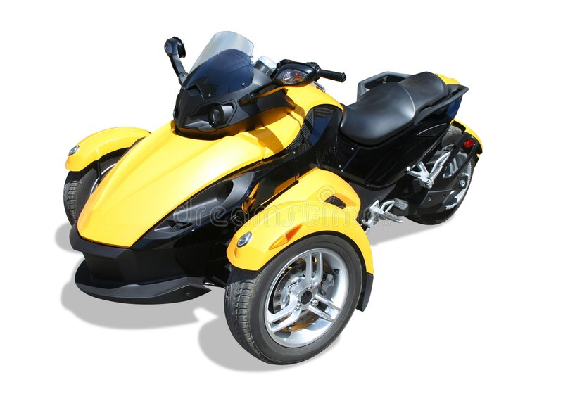 Yellow roadster. Three wheel motorcycle - roadster, isolated stock image
