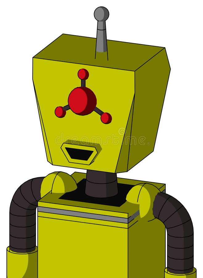 Yellow Robot With Box Head And Happy Mouth And Cyclops Compound Eyes And Single Antenna. Portrait style Yellow Robot With Box Head And Happy Mouth And Cyclops royalty free illustration