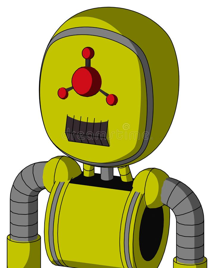 Yellow Robot With Bubble Head And Dark Tooth Mouth And Cyclops Compound Eyes. Portrait style Yellow Robot With Bubble Head And Dark Tooth Mouth And Cyclops vector illustration