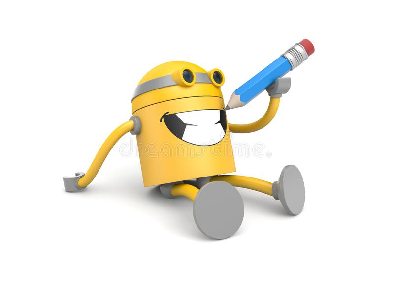 Yellow robot draws his own smile! From the life of robots. 3d illustration vector illustration
