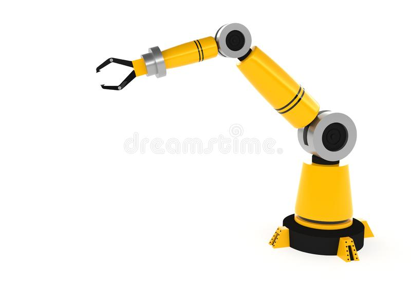 Yellow robotic arm isolated on white background, 3d rendering royalty free illustration