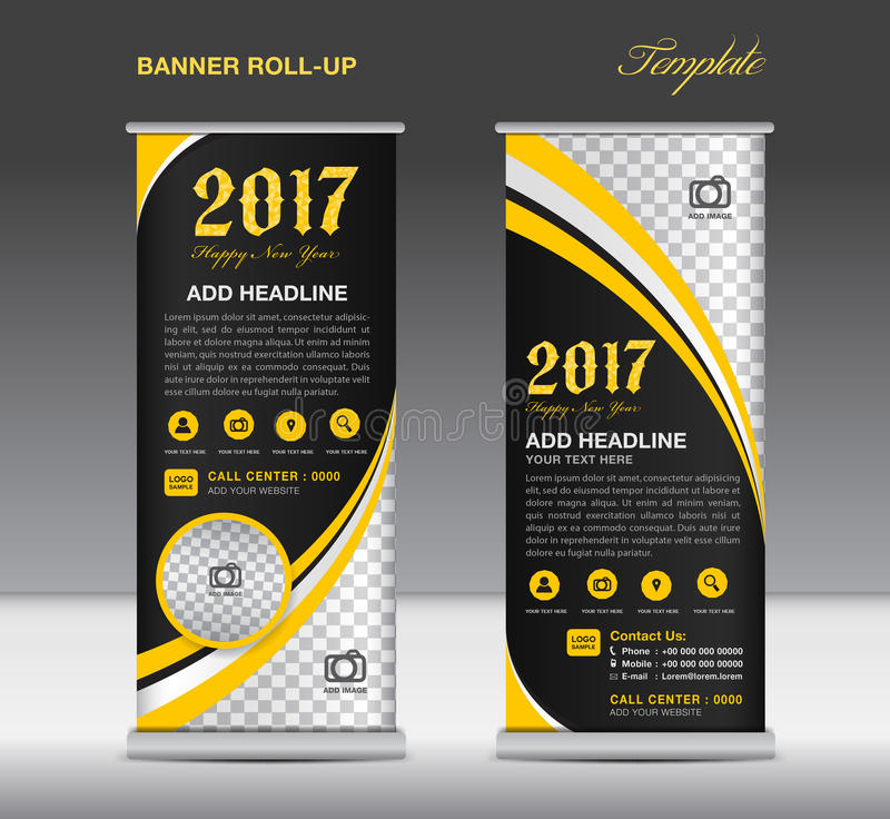yellow roll up banner template banner design stand template d stock vector image 79124428. Black Bedroom Furniture Sets. Home Design Ideas