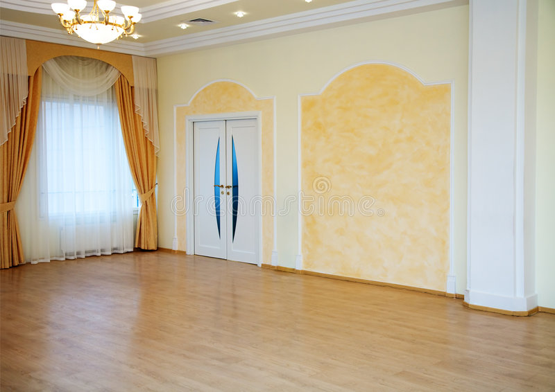 Yellow room. Interior of a modern palace (yellow room royalty free stock photography