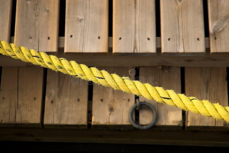 Yellow rope over docks