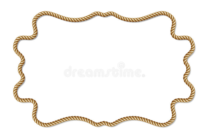 Yellow rope woven vector border, horizontal vector frame, isolated on white royalty free illustration