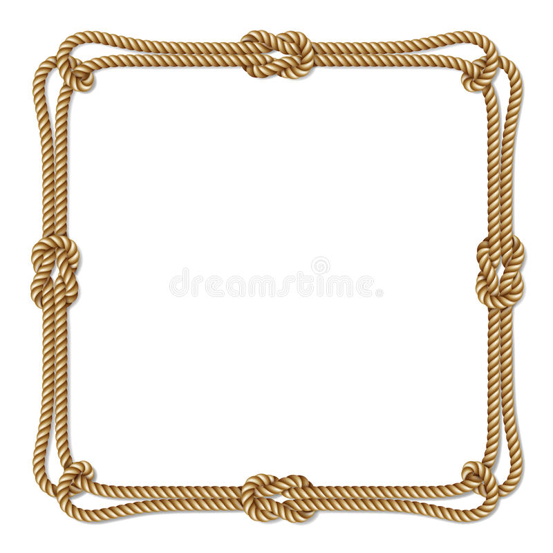 Yellow rope woven vector border with rope knots, square vector frame royalty free illustration