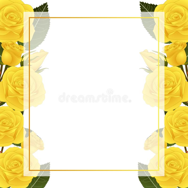 Yellow Rose Flower Frame Banner Card Border. isolated on White Background. Vector Illustration.  royalty free illustration