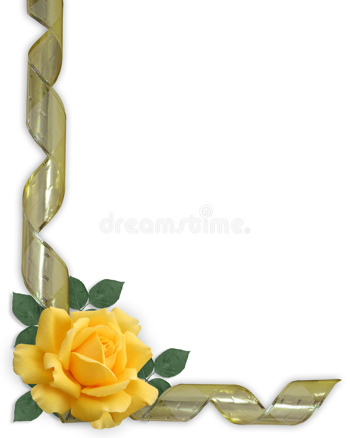 Yellow Rose and gold ribbon Border royalty free illustration