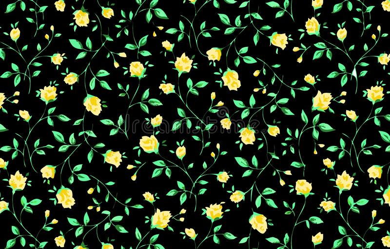 Yellow roses on Black background. Illustration design. Flowers, leaf, green, wallpaper, art, repeat, wrapping, fabric, clothing, dress, shirt, skirt, concept royalty free illustration