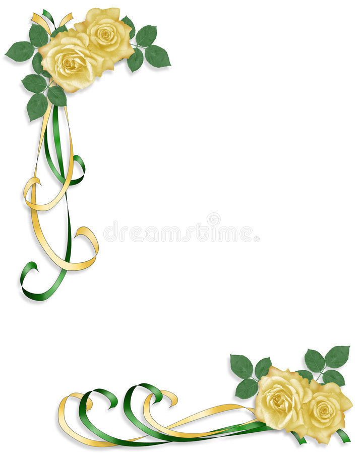 Yellow Roses Wedding or Party Invitation royalty free illustration