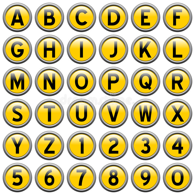 Download Yellow Round Alphabet Buttons Stock Illustration - Illustration: 6198371