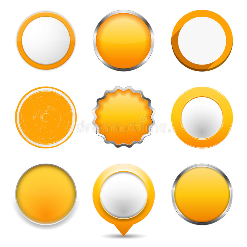 Yellow Round Buttons. Set of yellow round buttons on white background stock illustration