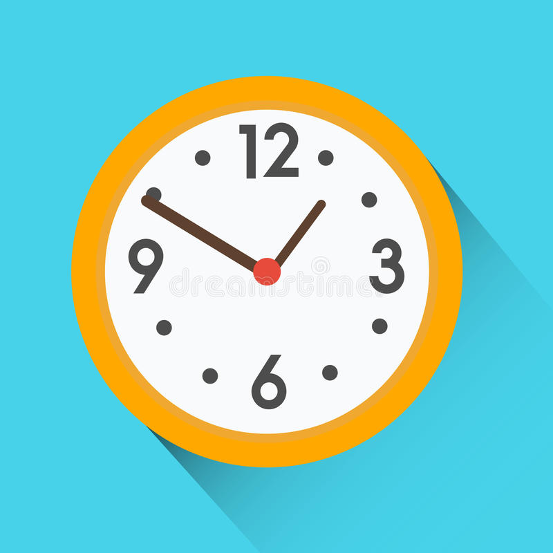 Yellow round clock on blue background. Flat vector icon with long shadow royalty free illustration