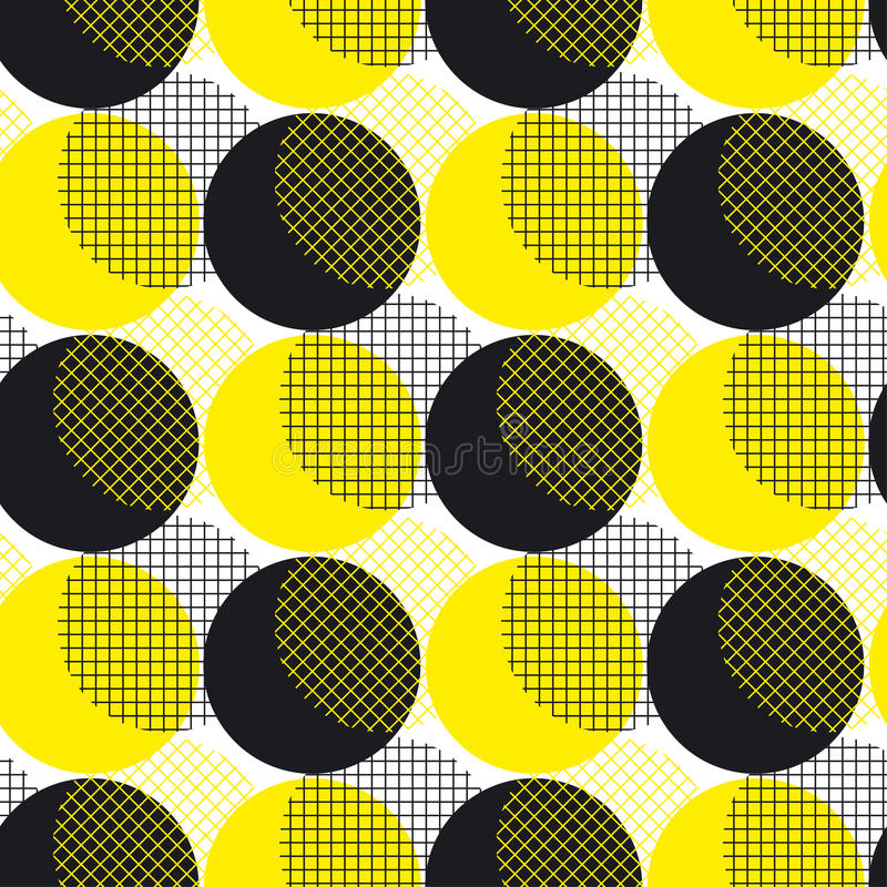 Yellow round geometry seamless pattern vector illustration surface design for print and web. Memphis post-modernist style motif. stock illustration