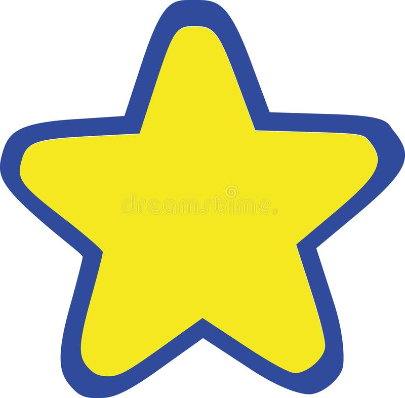 Yellow round star with blue outline. Vector stock illustration