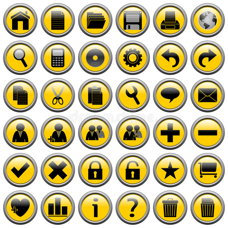 Yellow Round Web Buttons [1]. 36 website and application round buttons isolated on white background. Each button is 750x750 pixels. Yellow Round Web Buttons stock illustration
