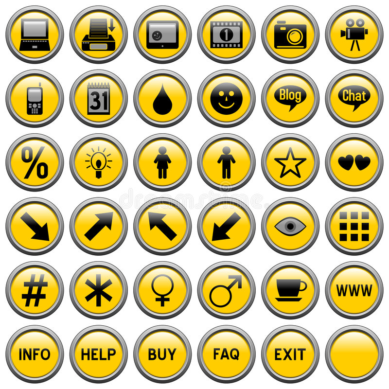 Yellow Round Web Buttons [4]. 36 website and application round buttons isolated on white background. Each button is 750x750 pixels. Yellow Round Web Buttons royalty free illustration