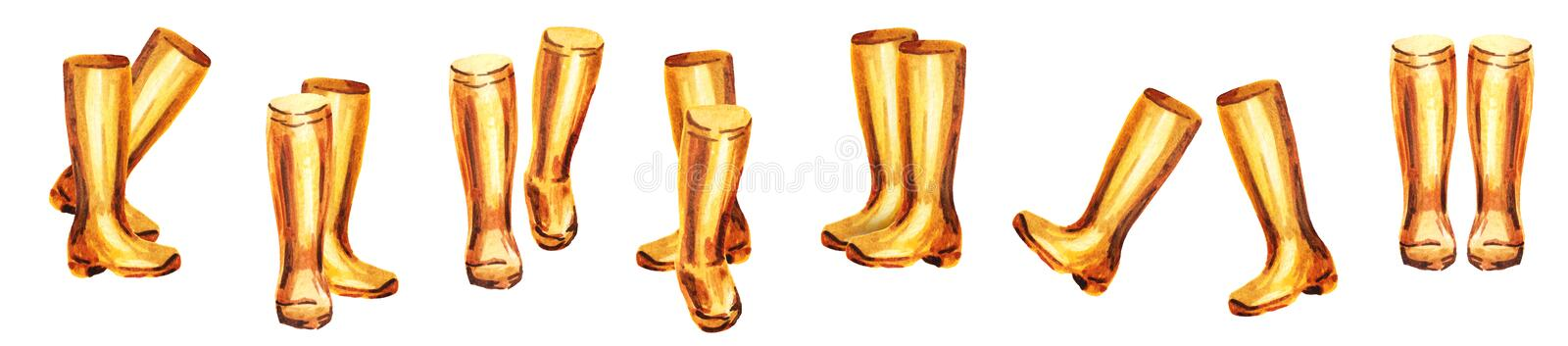 Yellow rubber boots set royalty free illustration