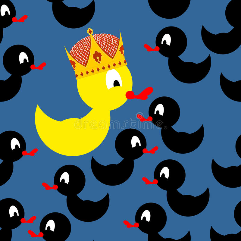 Yellow rubber duck in Crown. Black Duck around a yellow duck. At royalty free illustration
