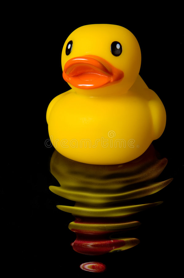 Free Yellow Rubber Duck Reflection With Water Ripples Stock Photography - 1998502