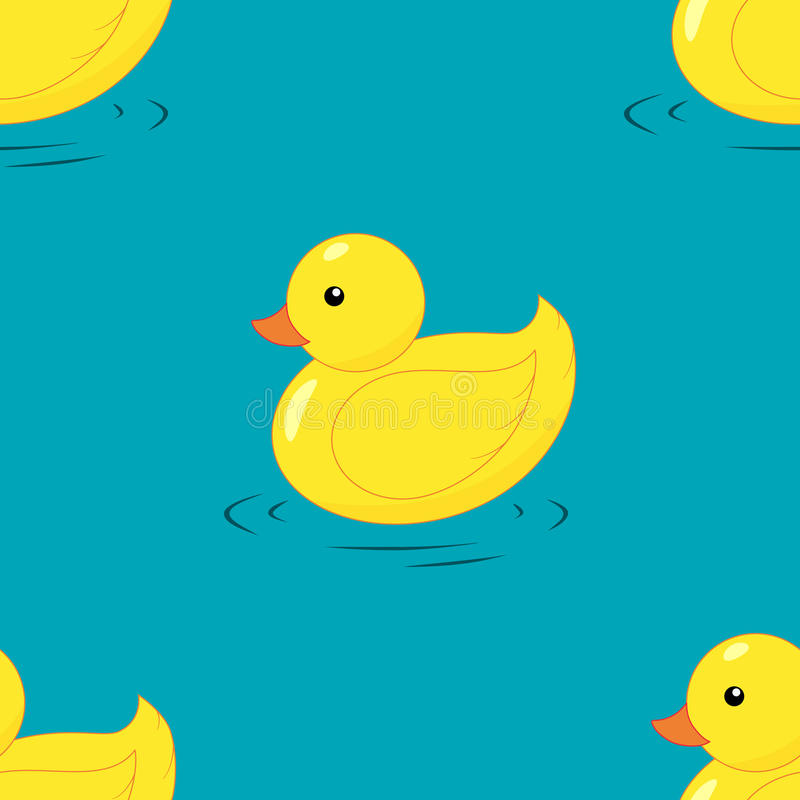 Yellow rubber duck seamless pattern. Hand drawing. Flat design stock illustration
