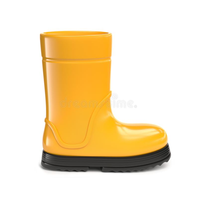 6ec3ae40579b8 Yellow rubber rain boots isolated on white background stock illustration