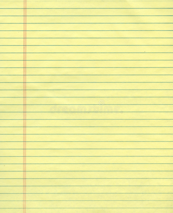 Yellow ruled exercise paper stock photos