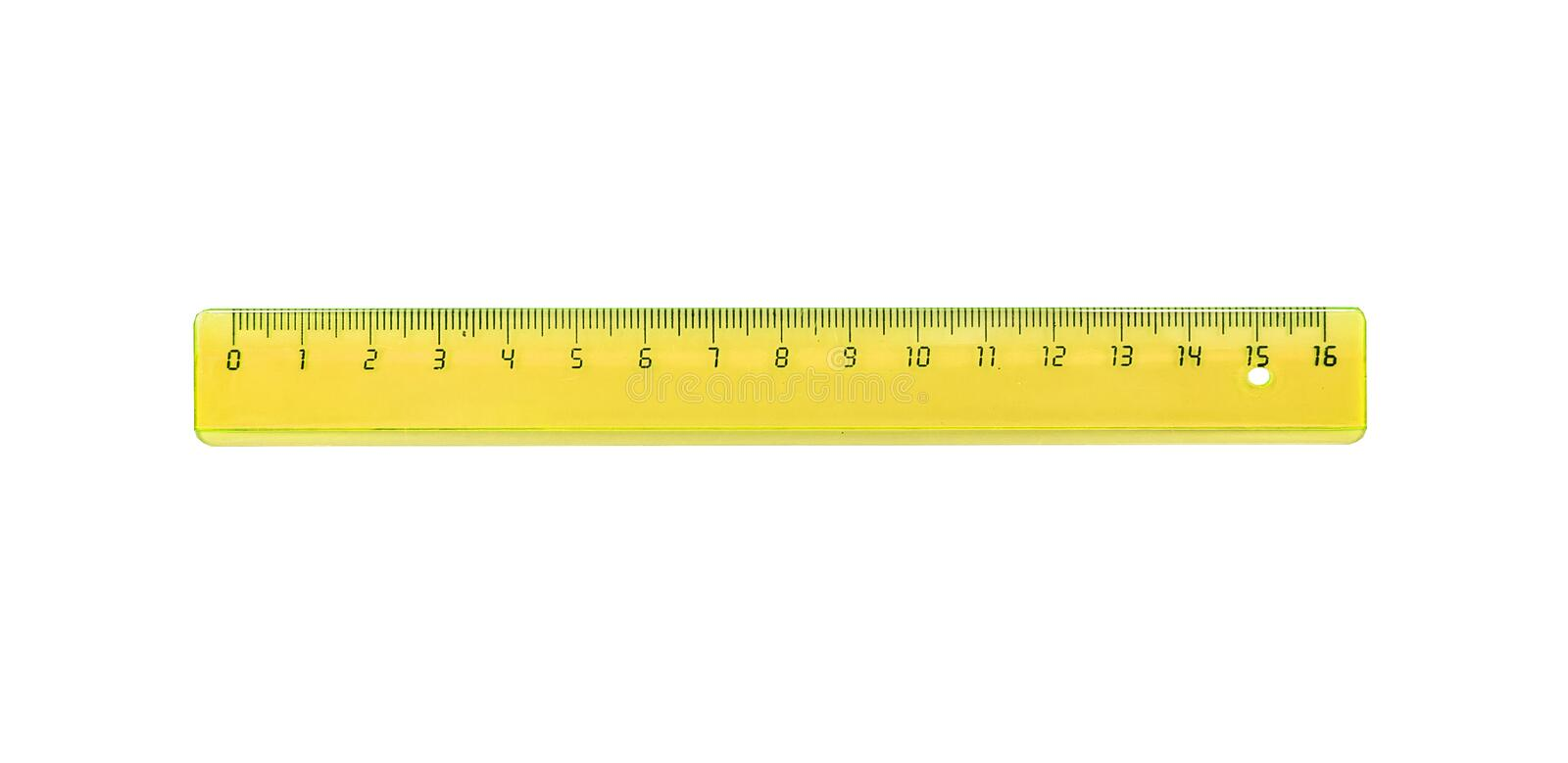 The yellow ruler is plastic for measuring centimeters. And millimeters. Isolated on white stock images