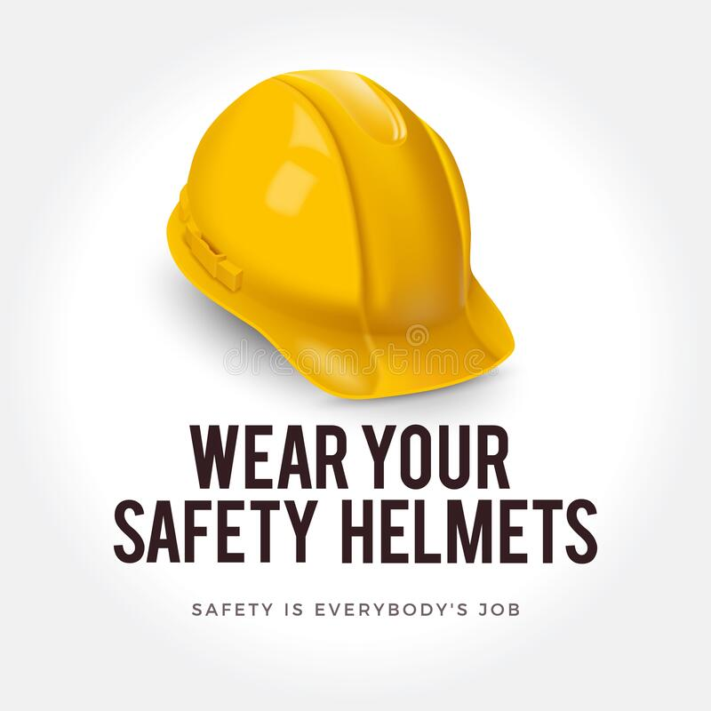 Warning sign - Wear your safety helmets. Safety yellow helmet. Yellow safety helmet as a symbol of personal protection stock illustration