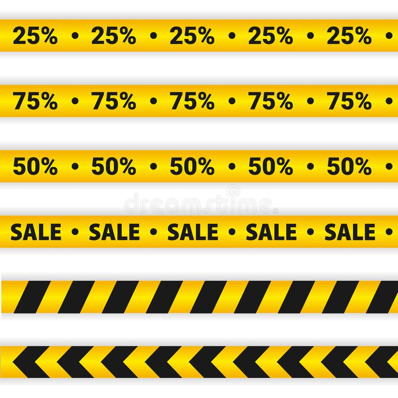 Yellow Sale Caution lines. Warning tapes. Discount elements. royalty free illustration