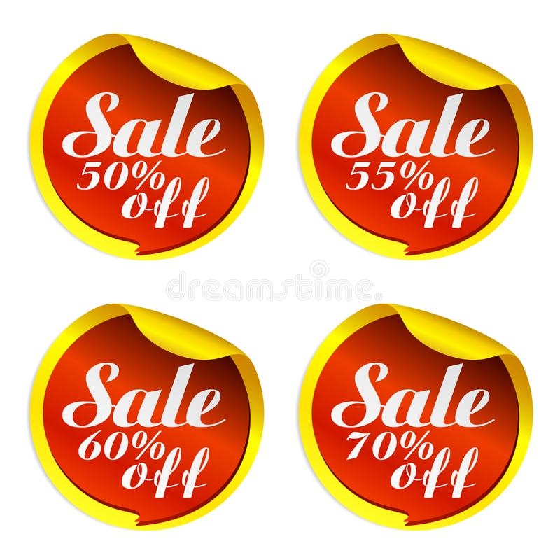Yellow sale stickers set with red bubble 50, 55, 60, 70 percent off. Vector illustration vector illustration