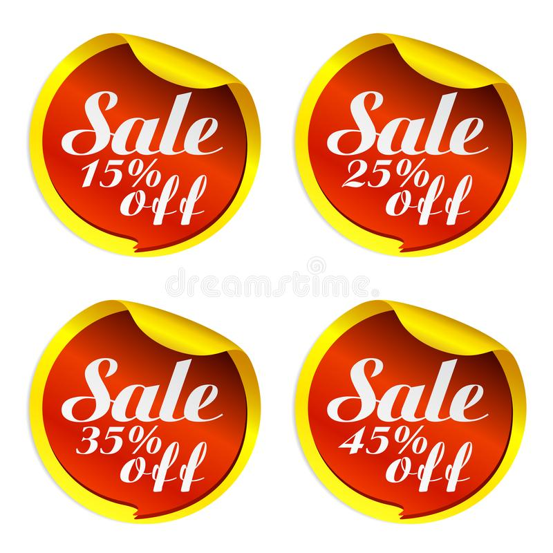Yellow sale stickers set with red bubble 15, 25, 35, 45 percent off. 