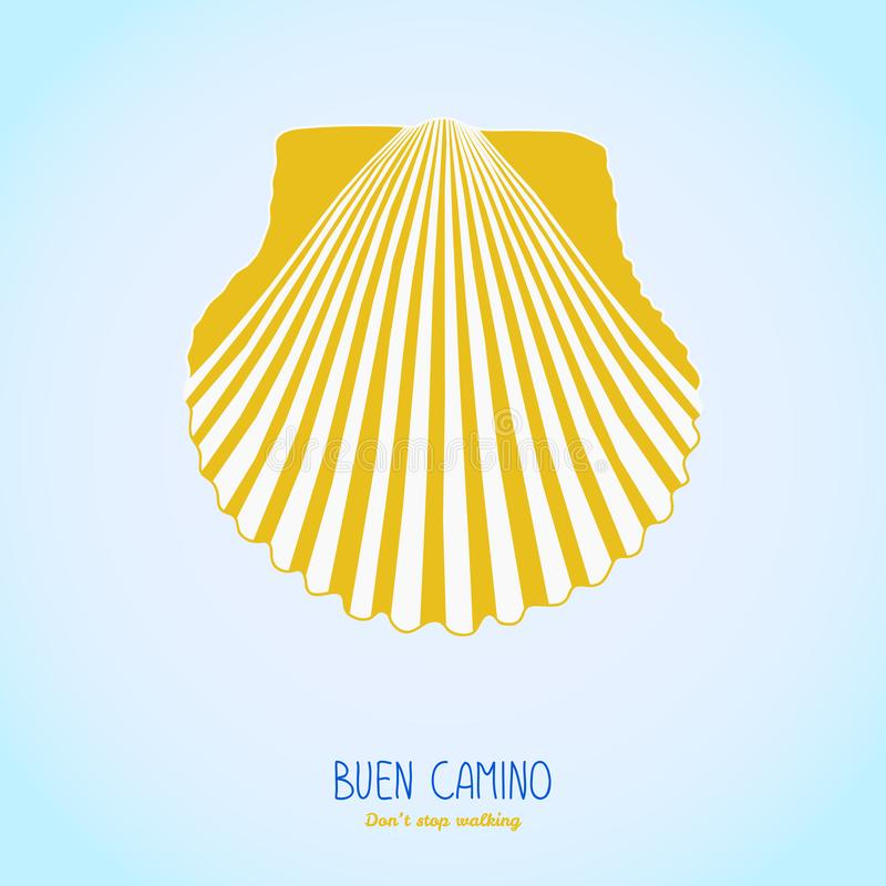 Yellow Scallop Shell Camino De Santiago Symbol Stock Vector