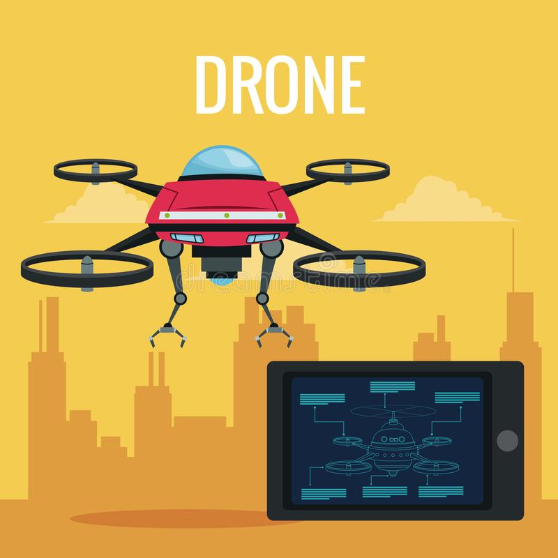 Yellow scene city landscape set remote control tablet and red robot drone with metal arms and four airscrew. Vector illustration vector illustration