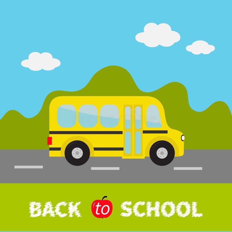 Yellow school bus kids. Green grass and road. Cartoon clipart. Transportation. vector illustration