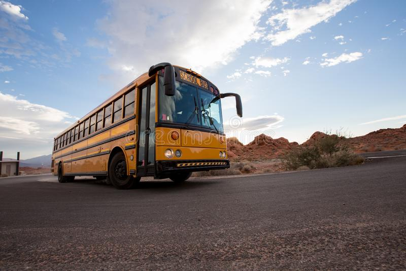 School bus on the road in Grand Canyon, USA royalty free stock image